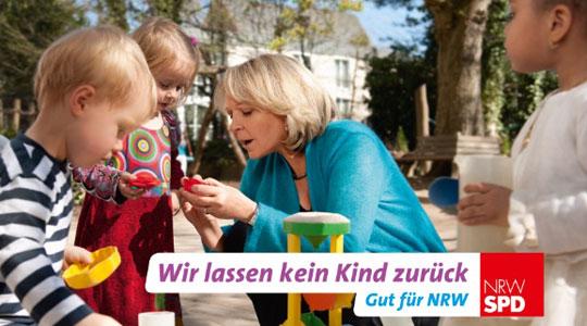 Plakatmotiv der NRWSPD: Wir lassen kein Kind zurück